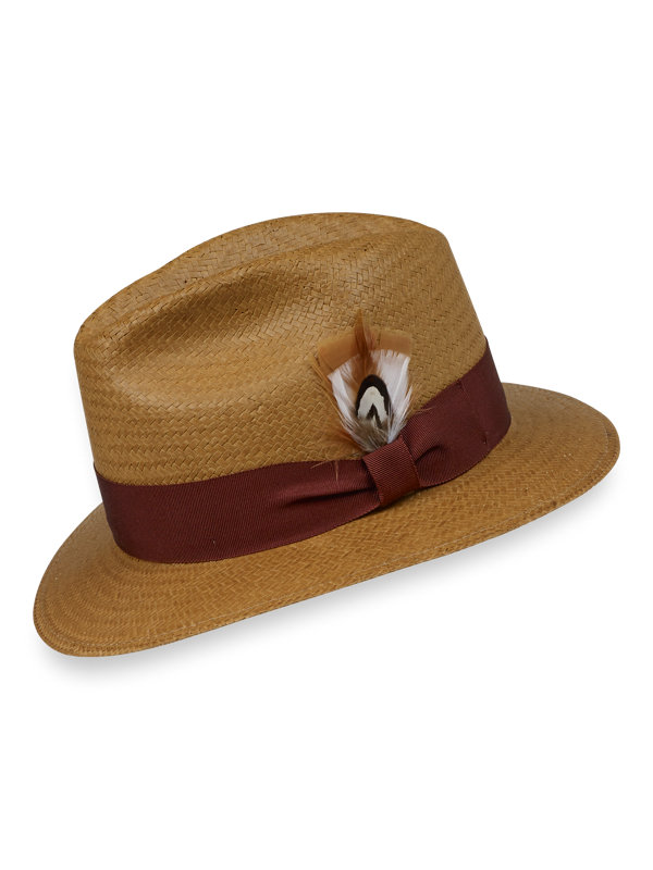 Straw Fedora With Feather