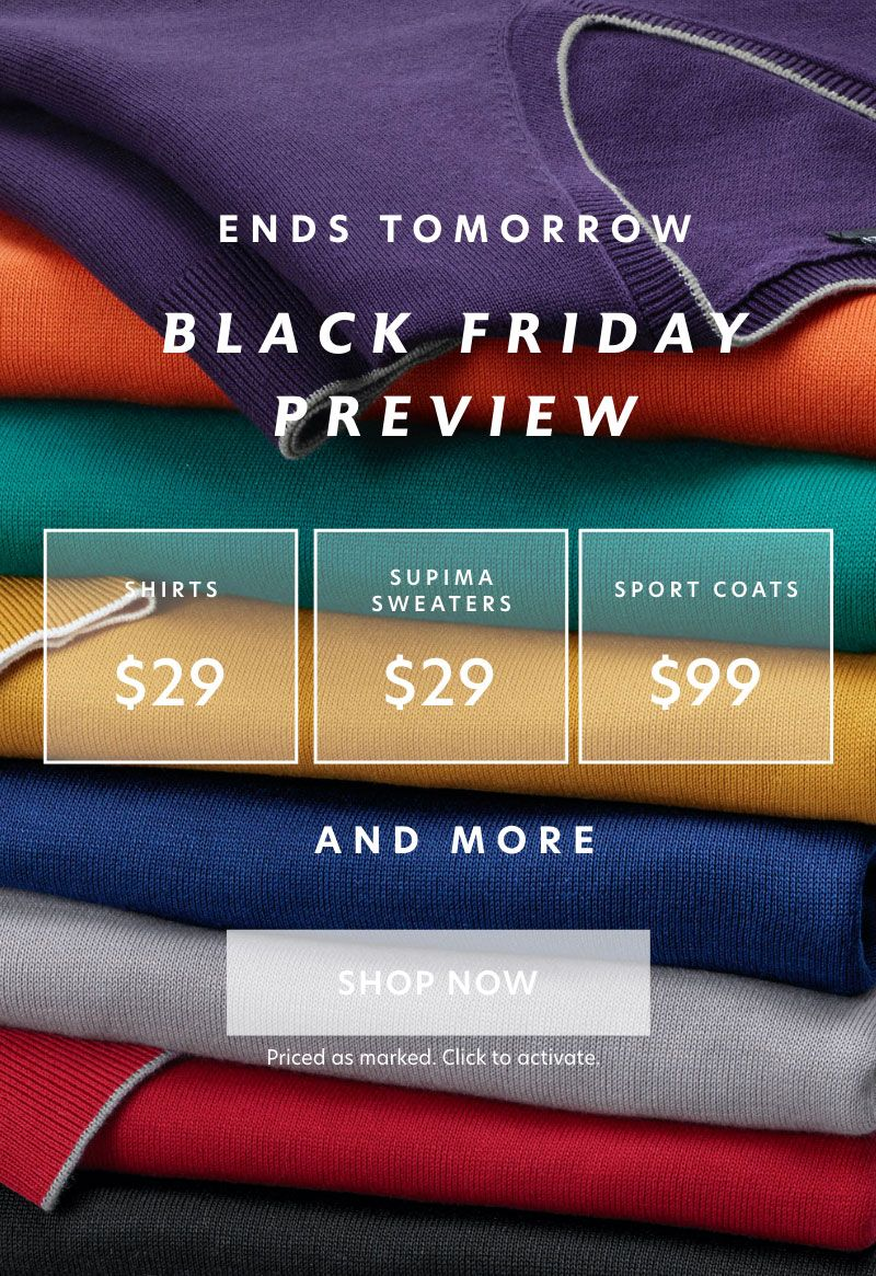 Ends Tomorrow: black Friday preview