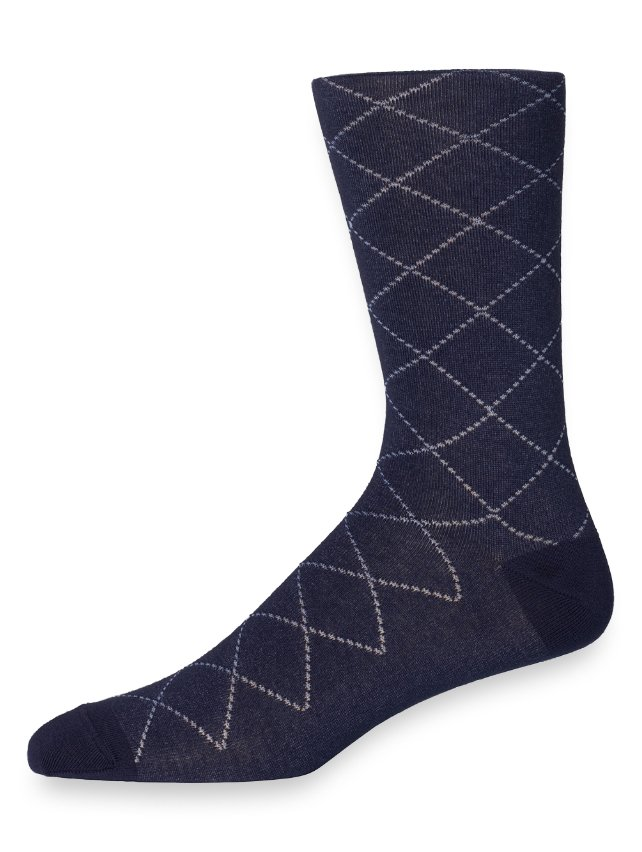 Pima Cotton Plaid Raker Socks