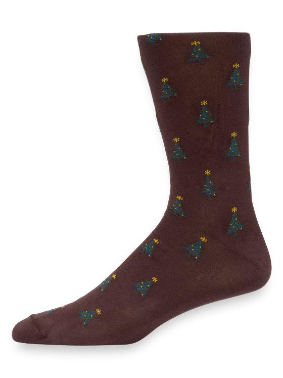 Pima Cotton Christmas Tree Motif Socks