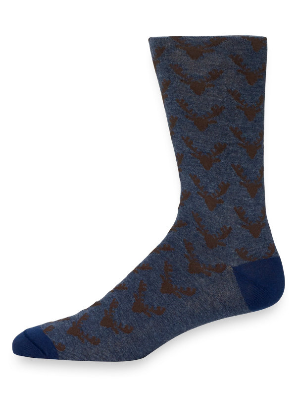 Pima Cotton Reindeer Motif Socks