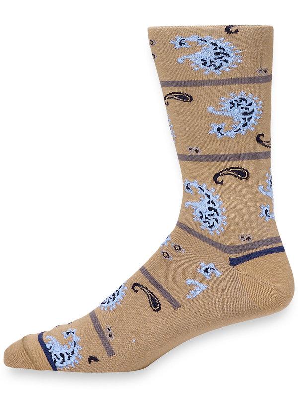 Pima Cotton Paisley Stripe Socks