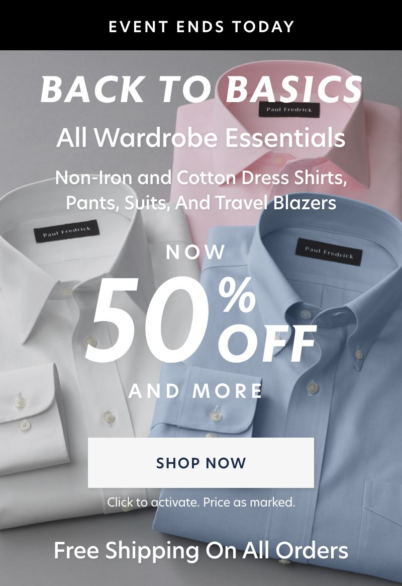50% Off Basics + Free Shipping