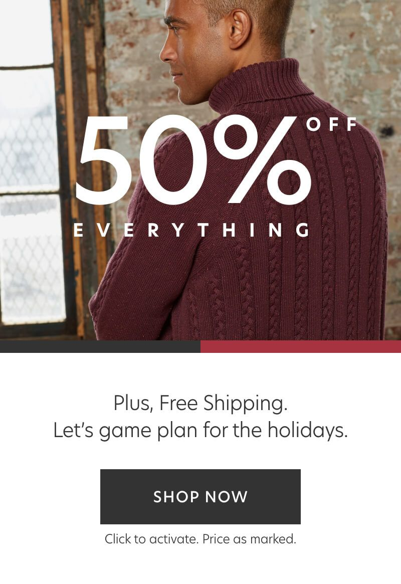 50% Off Everything + Free Shipping