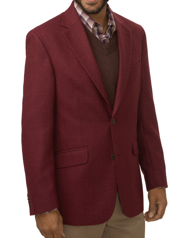 Classic Fit Wool Textured Notch Lapel Sport Coat