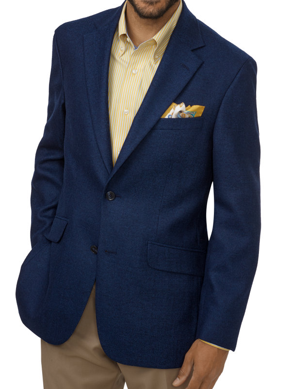 Tailored Fit Wool Textured Notch Lapel Sport Coat