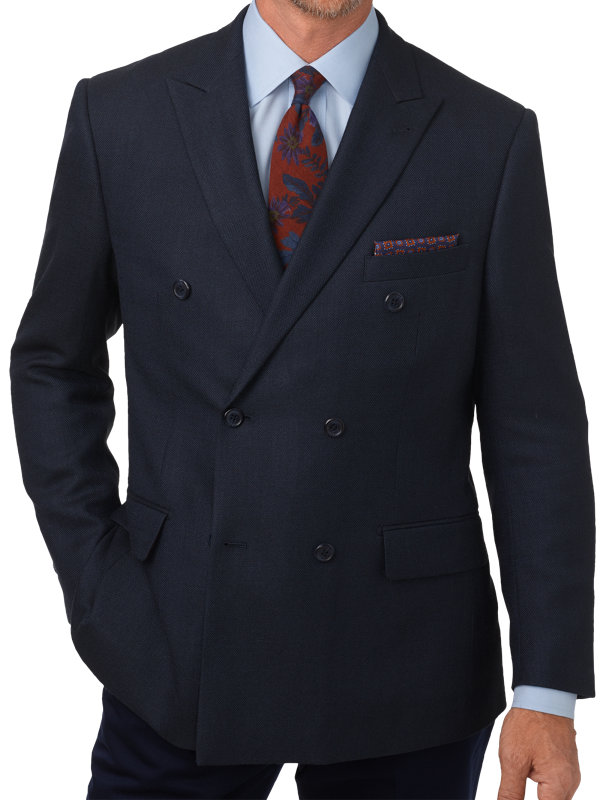 Tailored Fit Silk & Wool Double Breasted Peak Lapel Sport Coat