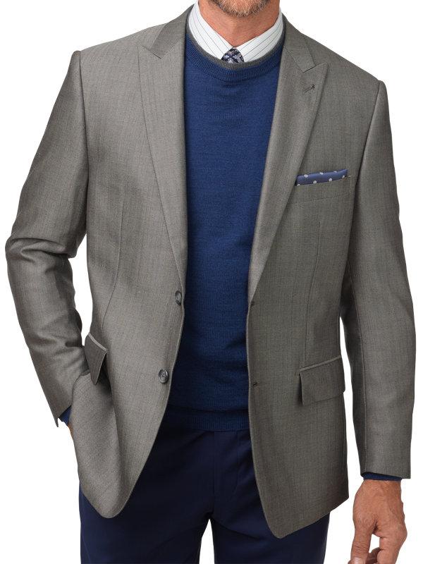Tailored Fit Silk & Wool Herringbone Peak Lapel Sport Coat