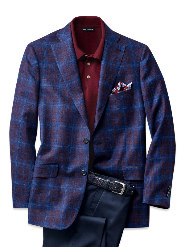 Italian Wool, Silk and Linen Plaid Notch Lapel Sport Coat