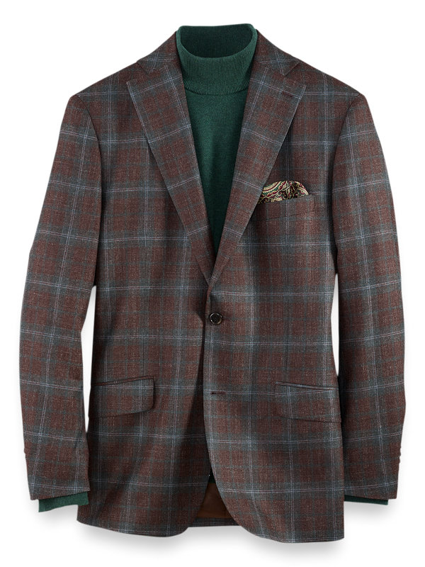 Italian Wool, Silk and Linen Plaid Notch Lapel Sport Coat
