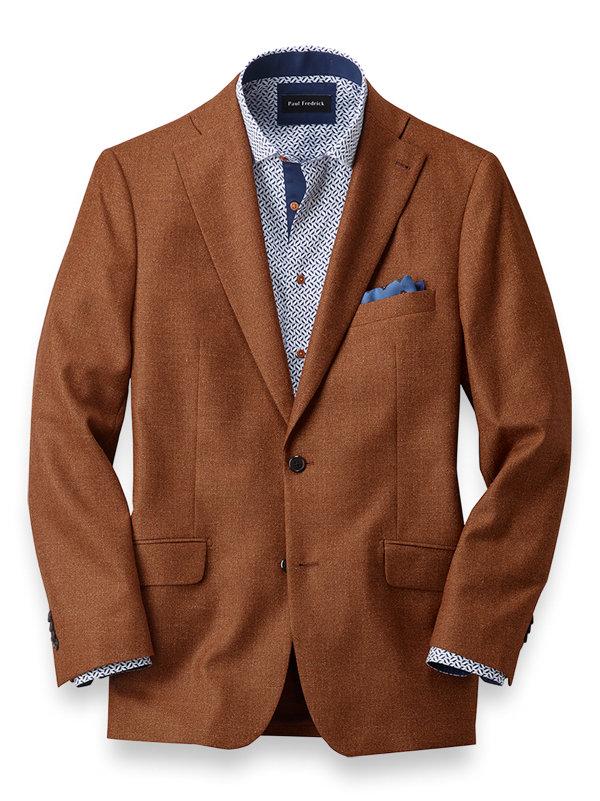 Italian Wool, Silk and Linen Solid Notch Lapel Sport Coat