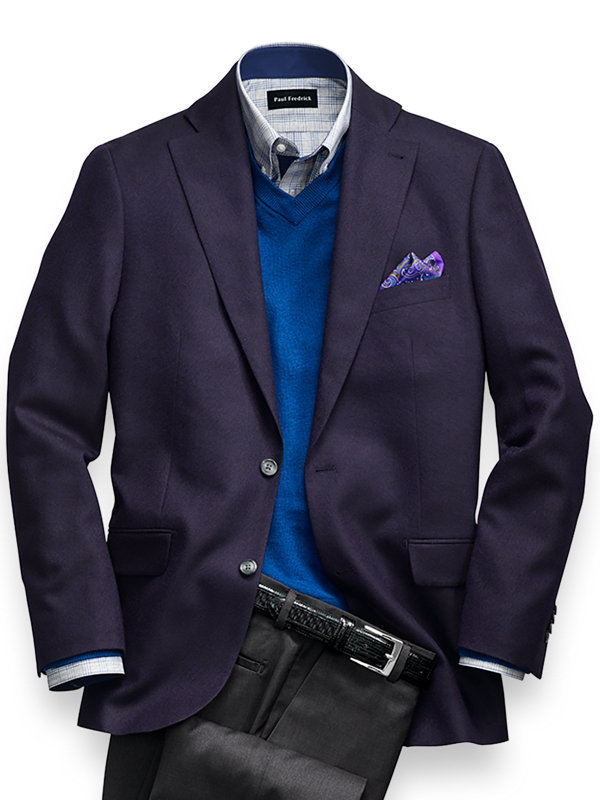 Solid Wool Notch Lapel Sport Coat