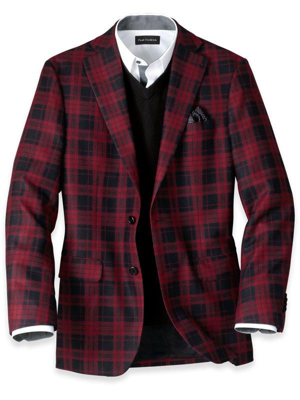 Wool Plaid Notch Lapel Sport Coat