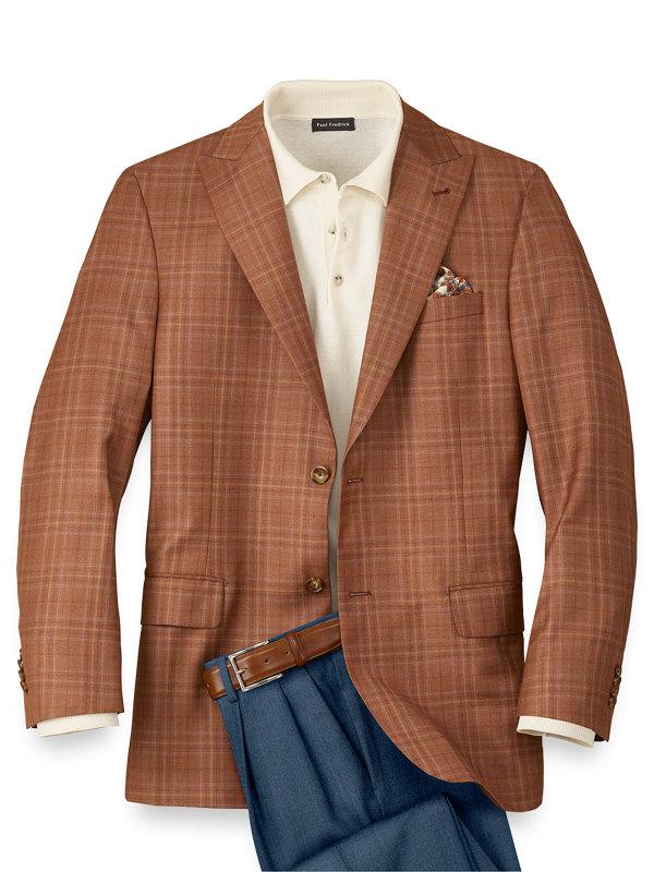 Italian Wool Plaid Peak Lapel Sport Coat
