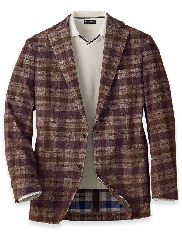 Corduroy Plaid Notch Lapel Sport Coat