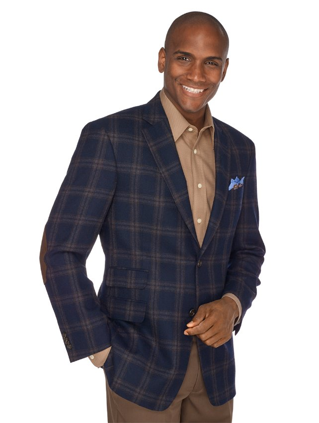 Navy Plaid Pure Wool Sport Coat