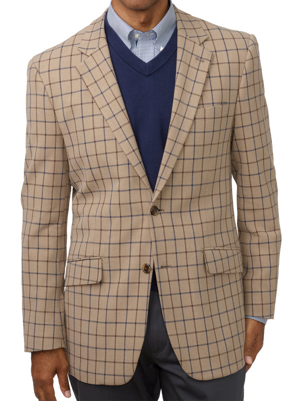 Classic Fit Cotton Windowpane Notch Lapel Sport Coat