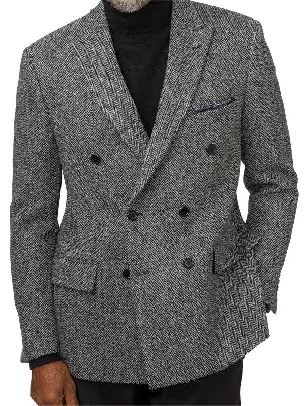 Tailored Fit Harris Tweed Double Breasted Peak Lapel Sport Coat