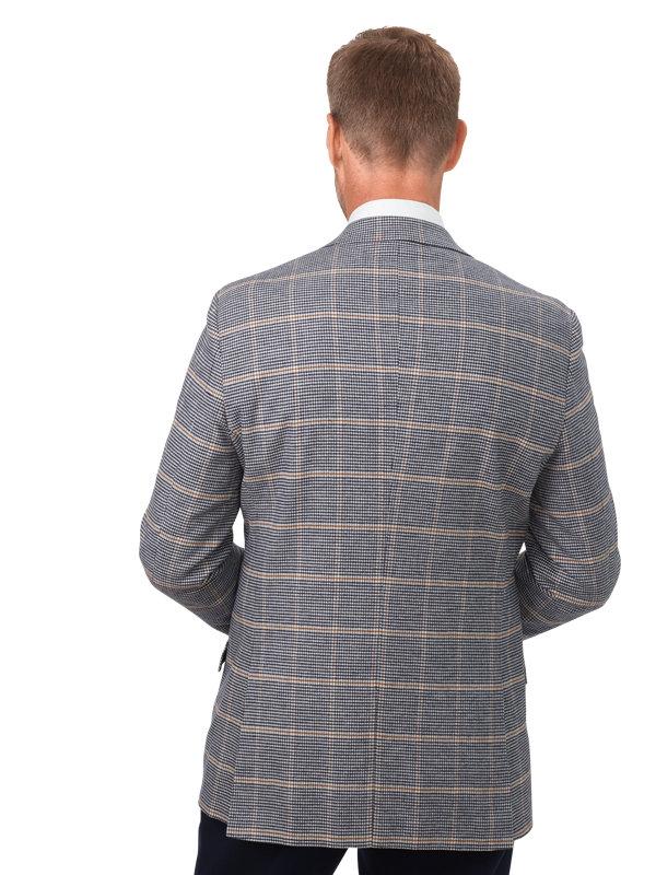 Classic Fit Cotton Herringbone Windowpane Notch Lapel Sport Coat