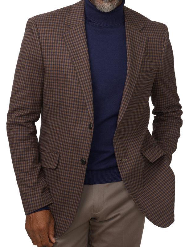 Classic Fit Cotton Check Notch Lapel Sport Coat
