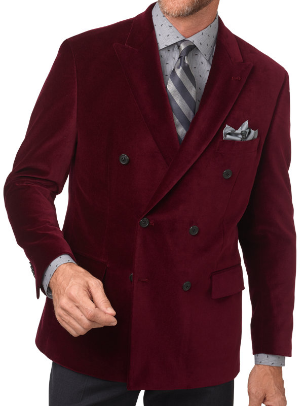 Tailored Fit Velvet Double Breasted Peak Lapel Sport Coat