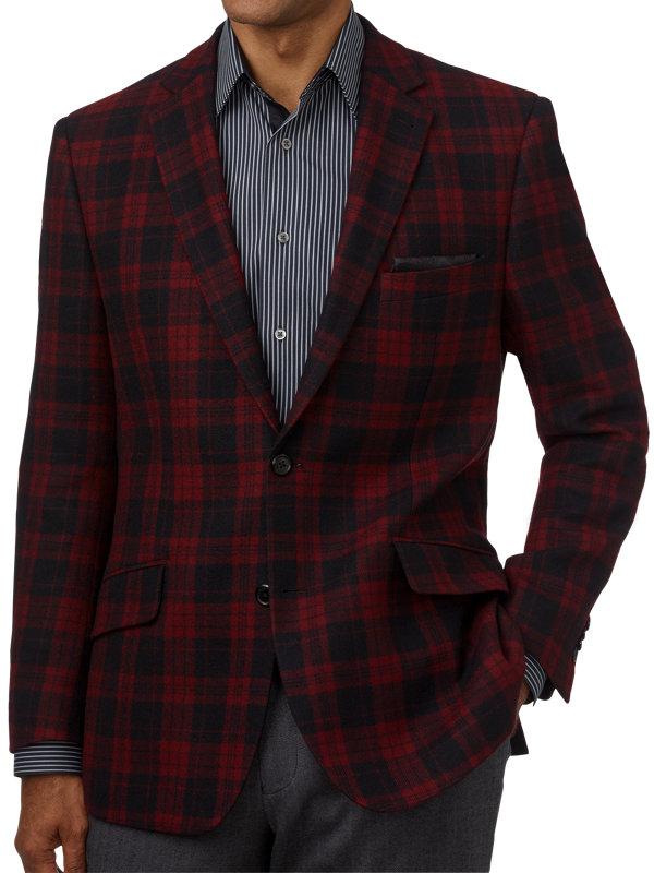 Classic Fit Wool Plaid Notch Lapel Sport Coat