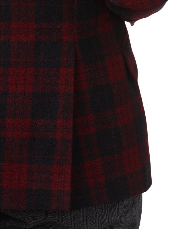 Tailored Fit Wool Plaid Notch Lapel Sport Coat