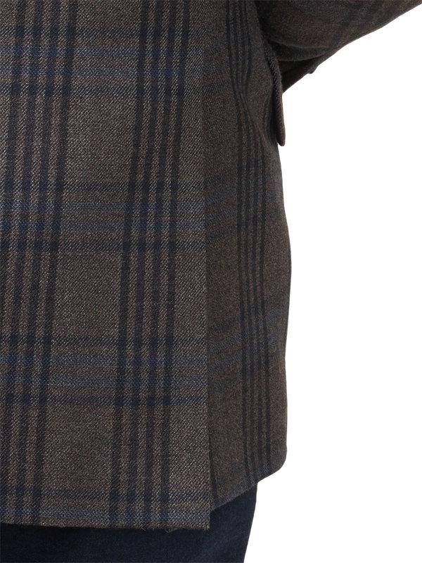 Classic Fit Silk & Wool Plaid Notch Lapel Sport Coat