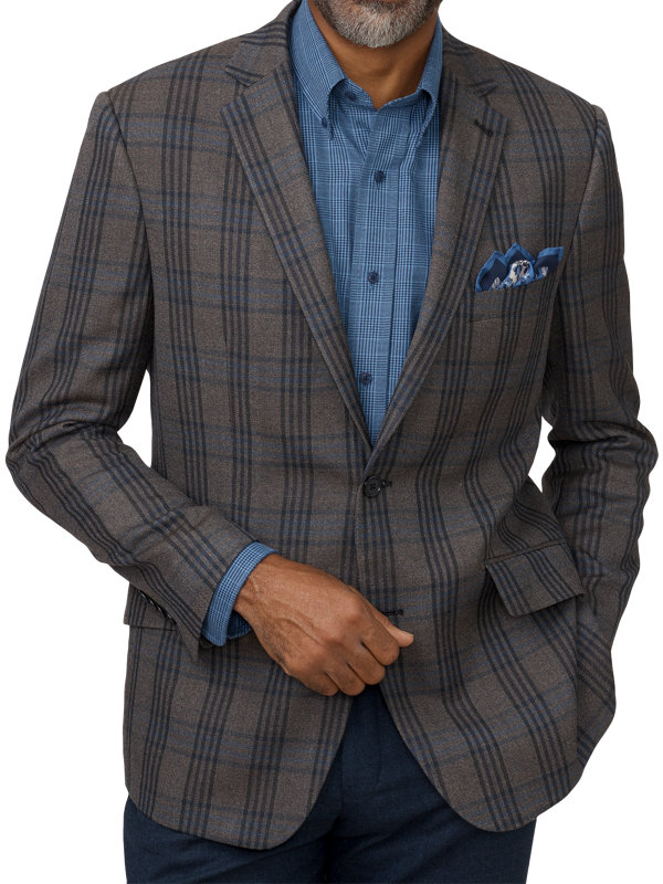 Tailored Fit Silk & Wool Plaid Notch Lapel Sport Coat