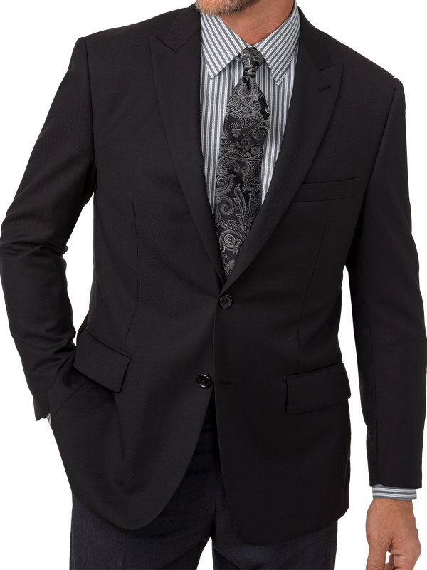 Tailored Fit Wool Diamond Pattern Notch Lapel Sport Coat