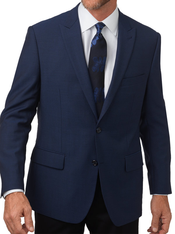 Classic Fit Wool Diamond Pattern Peak Lapel Sport Coat