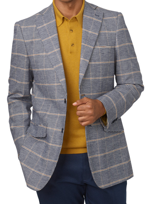 Cotton Blend Houndstooth Windowpane Notch Lapel Sport Coat