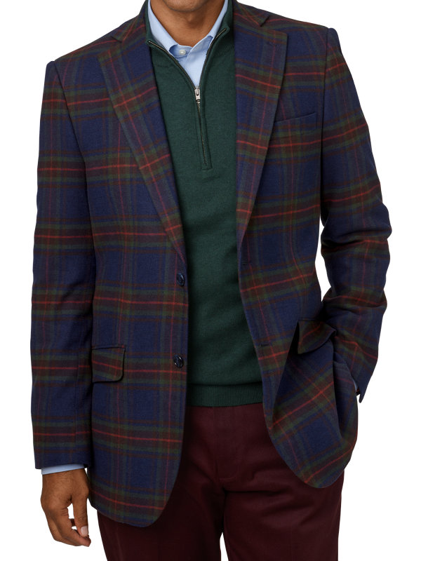 Cotton Blend Plaid Notch Lapel Sport Coat