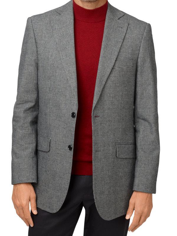 Cotton Blend Glen Plaid Notch Lapel Sport Coat