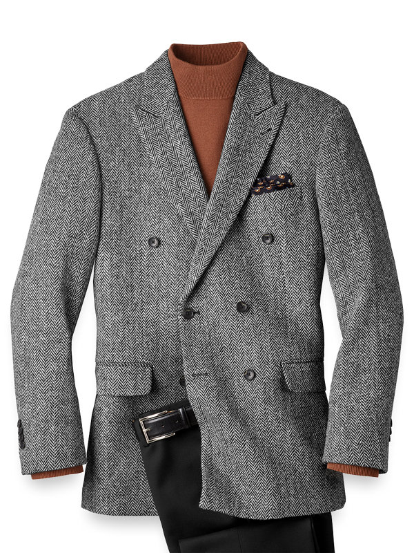 Classic Fit Harris Tweed Double Breasted Sport Coat