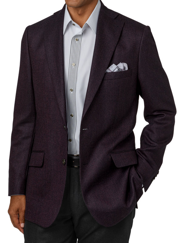 Italian Wool Textured Solid Notch Lapel Sport Coat