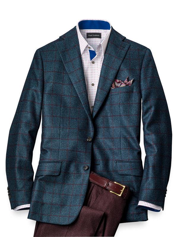 Italian Wool Windowpane Notch Lapel Sport Coat