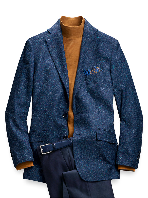 Italian Wool and Silk Solid Donegal Notch Lapel Sport Coat