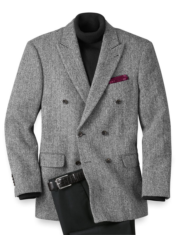 Tailored Fit Harris Tweed Double Breasted Sport Coat