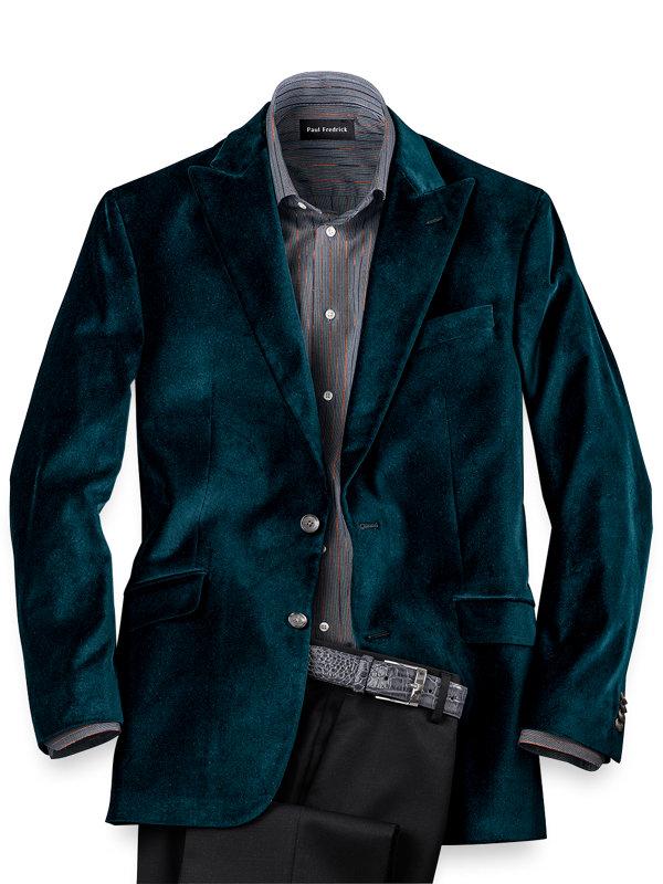 Tailored Fit Velvet Solid Peak Lapel Sport Coat