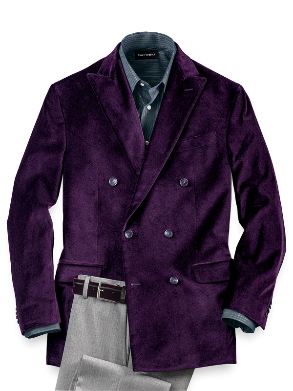 Tailored Fit Velvet Solid Double Breasted Peak Lapel Sport Coat