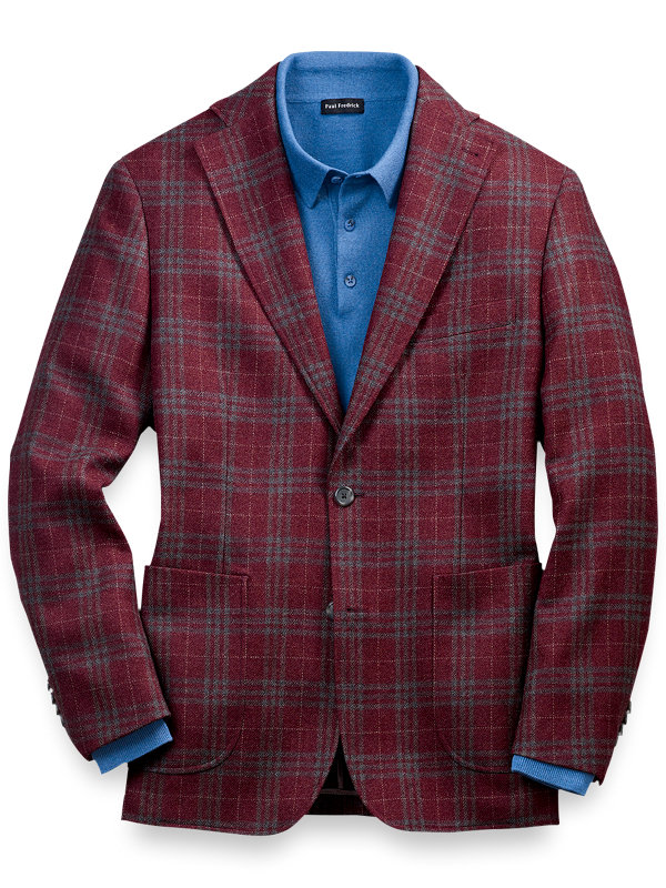 Classic Fit Wool Plaid Notch Lapel Sport Coat