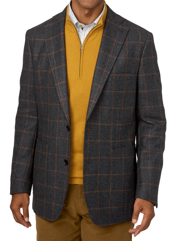 Tailored Fit Wool Windowpane Notch Lapel Sport Coat