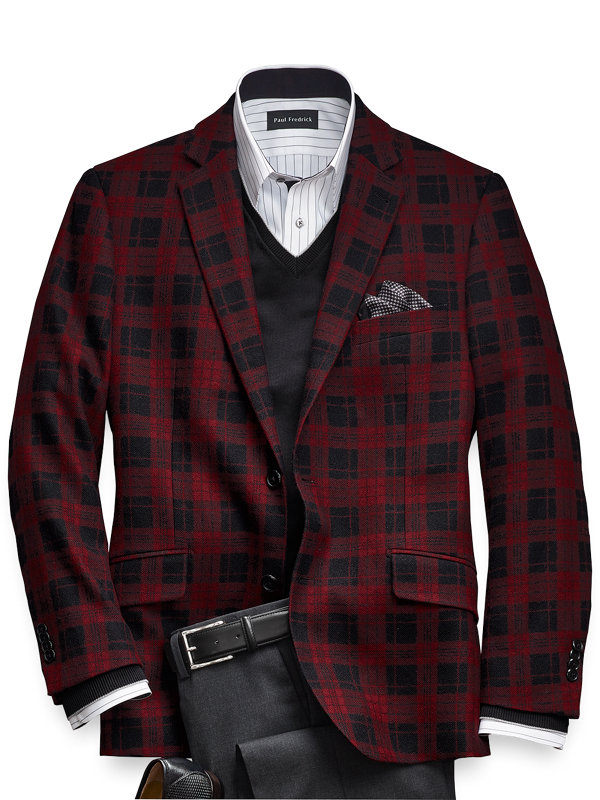 Tailored Fit Wool Plaid Notch Lapel Sport Coat