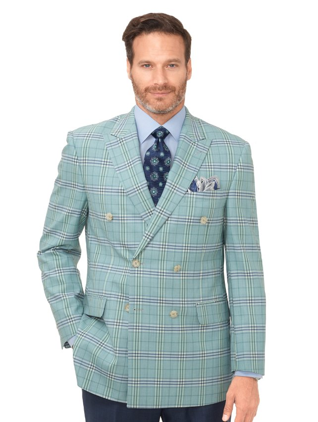 Super 100's Wool Plaid Sport Coat