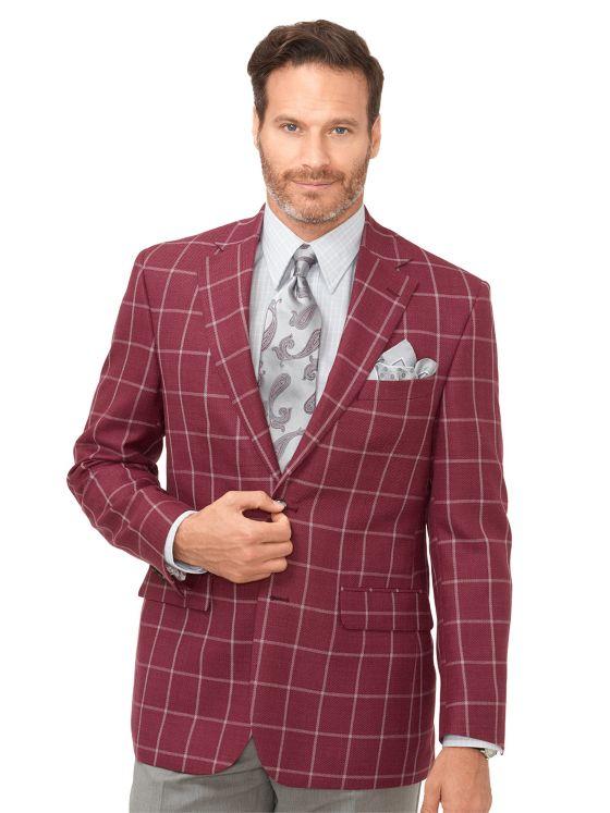 Wool & Linen Windowpane Sport Coat