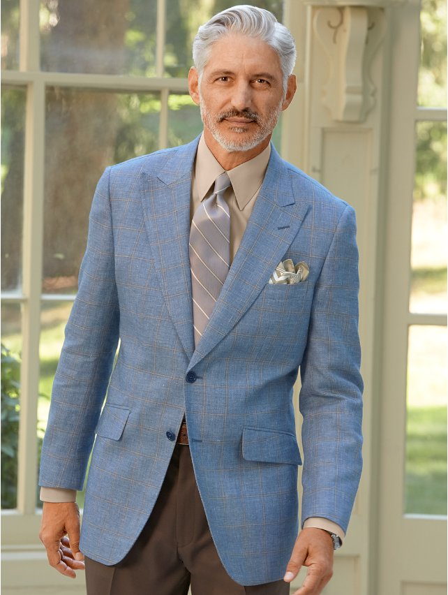 Italian Wool & Linen Windowpane Sport Coat