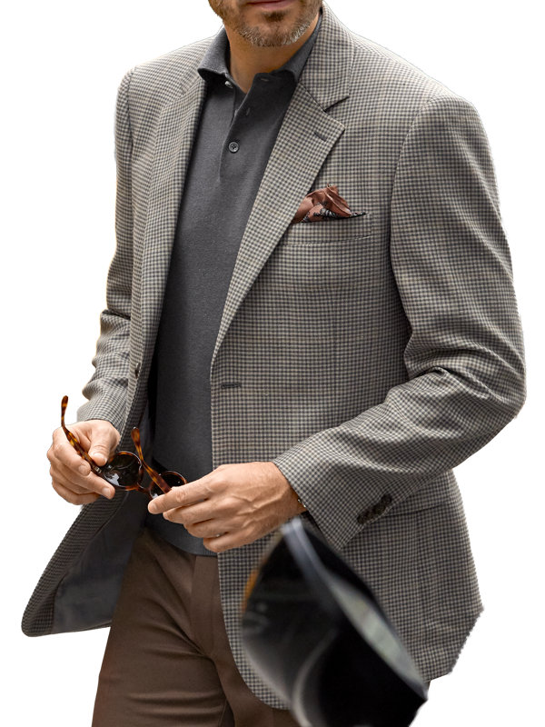 Wool & Linen Check Houndstooth Sport Coat