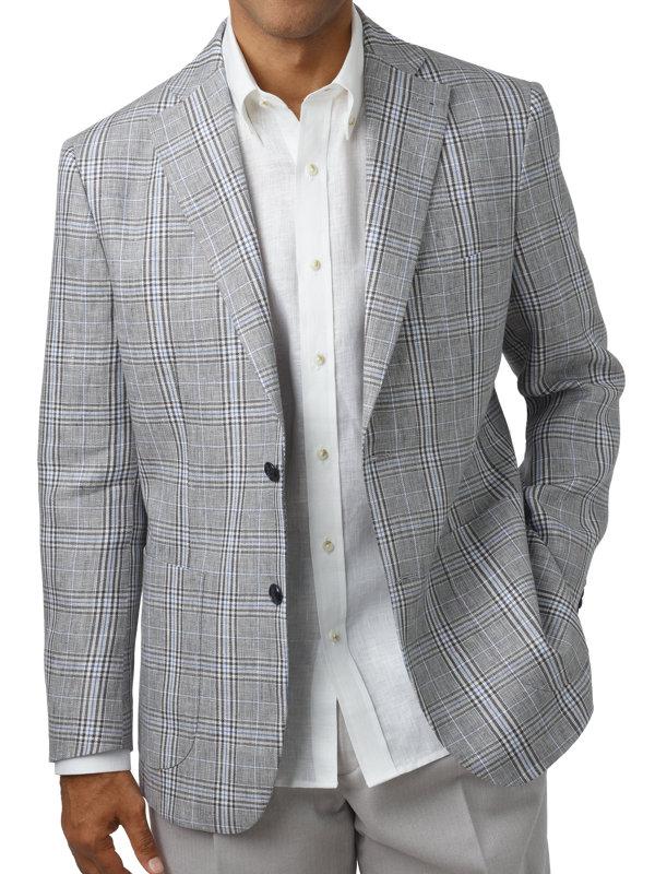 Tailored Fit Linen Plaid Notch Lapel Sport Coat