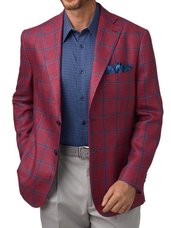 Tailored Fit Linen Windowpane Notch Lapel Sport Coat